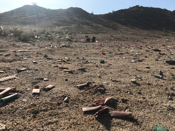 Shotgun shells lie on the ground near Tonopah Salome