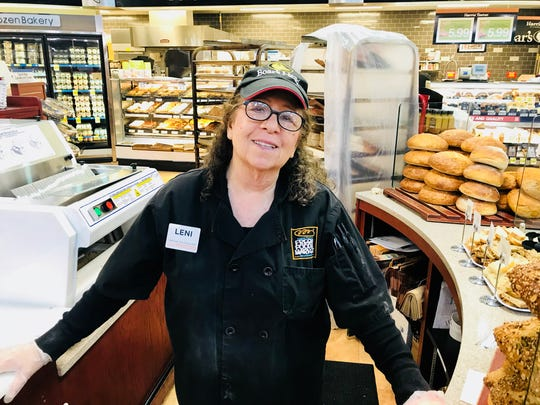 Former Asheville Mayor Leni Sitnick, 73, works at Harris Teeter. She likes the work but said she also needs the money.