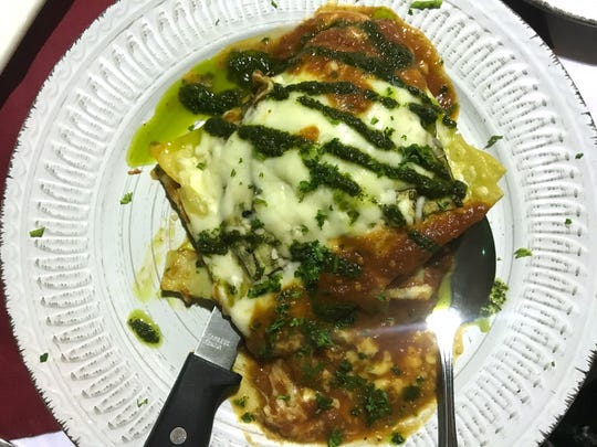 Involtino di Melanzana ($9.99) includes layers of sliced eggplant rolled and stuffed with ricotta cheese, mozzarella and basil, baked and topped with homemade marinara and pesto sauces.