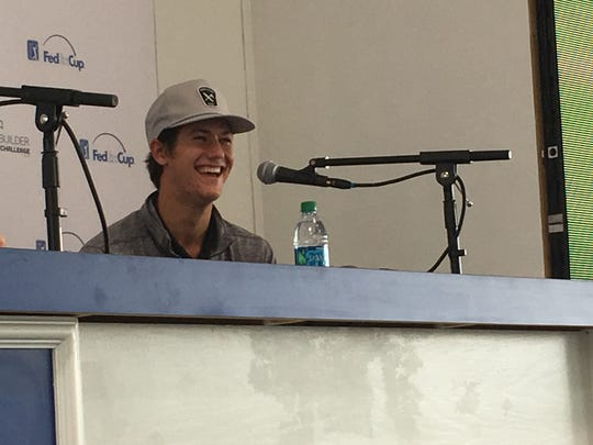 Charlie Reiter of Palm Desert High School laughs during his news conference Tuesday at the CareerBuilder Challenge.