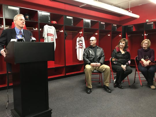 Red Wings general manager Dan Mason introduces new Rochester manager Joel Skinner, middle, on Wednesday at Frontier Field. Skinner is flanked by Red Wings COO Naomi Silver and Skinner's wife, Jennifer, far right.