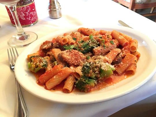Chef Alfredo's rigatoni pecoraia includes Italian sausage,