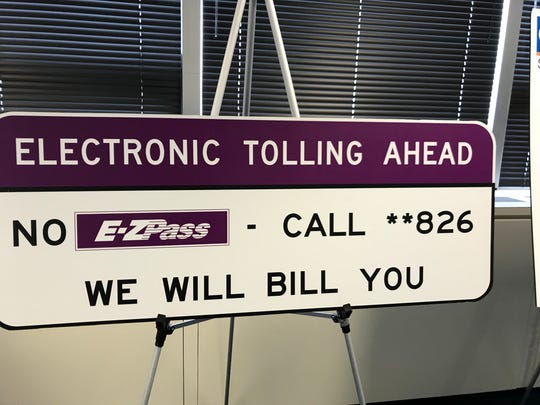 New signs for cashless tolling.