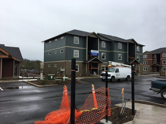 Construction of the Cappella Apartments on Liberty Road S in Salem, Oregon, on Jan. 18, 2018.