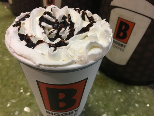 Peppermint hot chocolate from Biggby on Jan. 18, 2018.