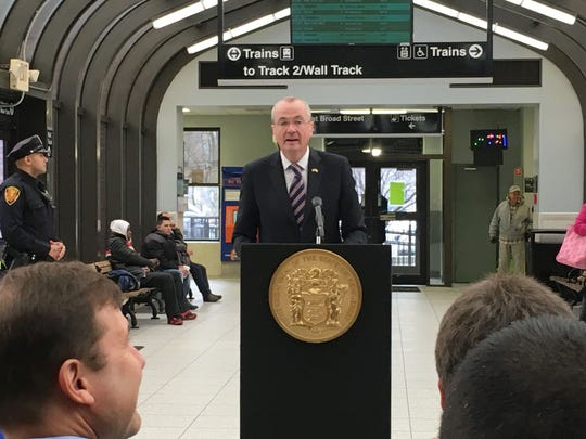 Gov. Phil Murphy at the Summit train station on Jan.