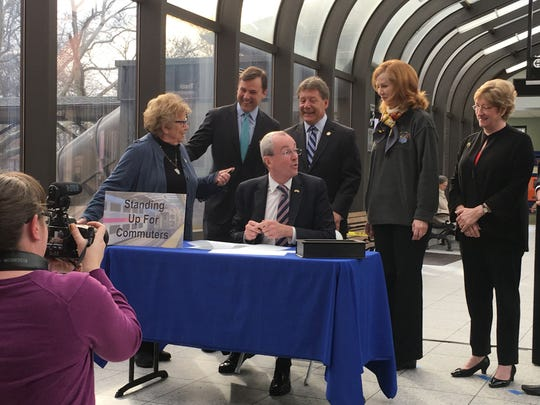 Phil Murphy at the Summit train station on Monday,