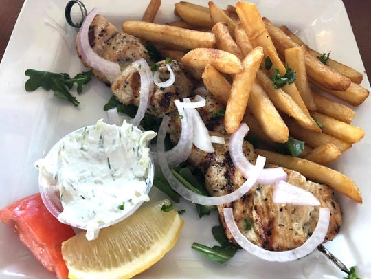 The chicken souvlaki ($10) is skewered and charboiled