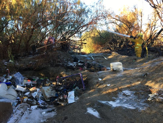 A transient camp was discovered in the area of a brush