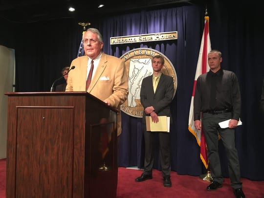 Rep. Arnold Moonet, R-Birmingham, speaks at a press