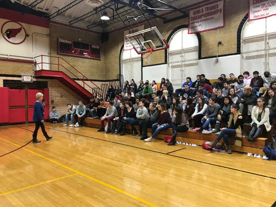 Donna Andelora, a mother who lost her son to a heroin overdose, speaks to high school students in Pompton Lakes, New Jersey.