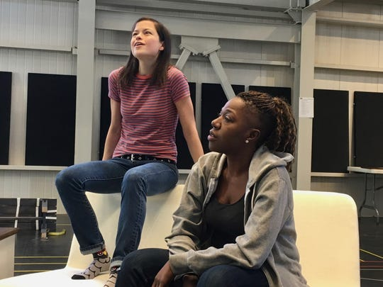 "Kally Duling, left, and Laiona Michelle rehearse a scene from Christopher Demos-Brown's ""American Hero."""