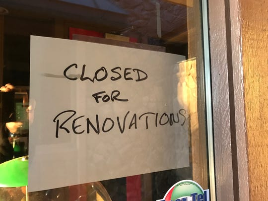 """A sign outside the door at China Garden says the restaurant is """"Closed for Renovations."""" Jan. 24, 2018"""