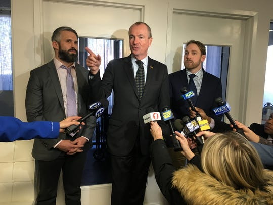 Gov. Phil Murphy, center, toured the Breakwater Treatment