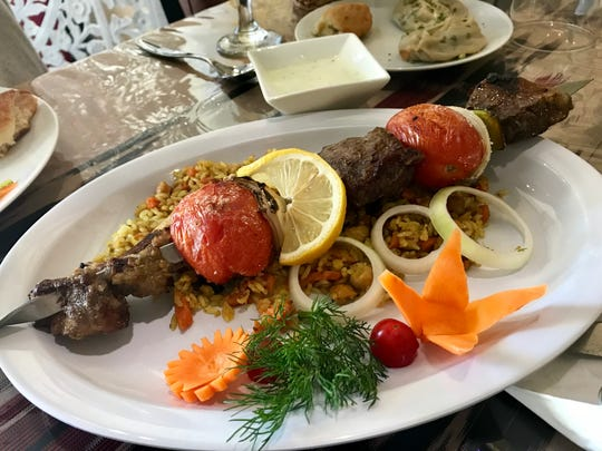 A specialty kebab with lamb and beef from Silk Road