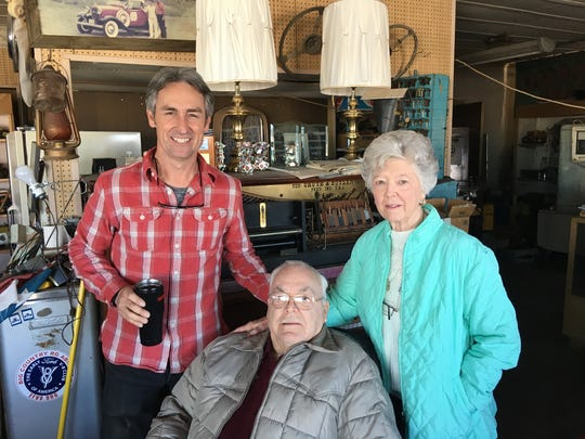 "Mike Wolfe of ""American Pickers"" visited Ken and Claudette Young inside Ken's Toys in Brady, Texas, on Monday, Jan. 22, 2018."