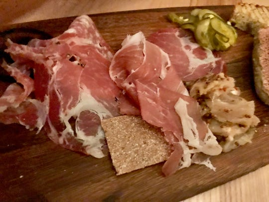 The charcuterie platter at The Oyster Bar at Jockey