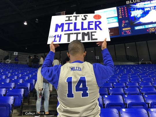 MTSU student Darion Campbell shows off his Chase Miller
