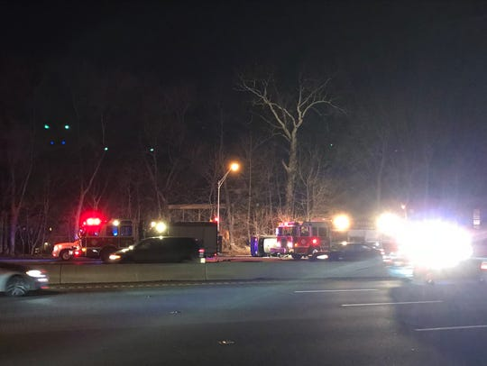 An overturned vehicle on Route 80 west in Paterson