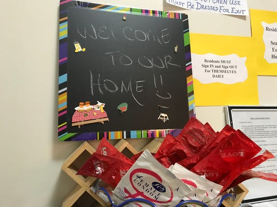 A sign at Reaching Adolescents in Need Foundation's shelter for LGBT youths in East Orange welcomes visitors to the home on Monday, Jan. 29, 2018.