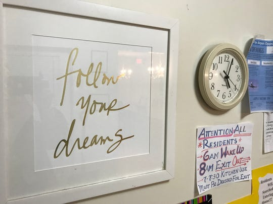 A sign at the Reaching Adolescents in Need Foundation's shelter in East Orange on Monday, Jan. 29, 2018 offers encouragement.