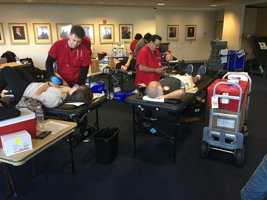 """The Ronald Reagan Presidential Library in Simi Valley hosted the American Red Cross's fourth annual """"Battle of the Badges"""" blood drive Monday, open to police, firefighters and the public."""