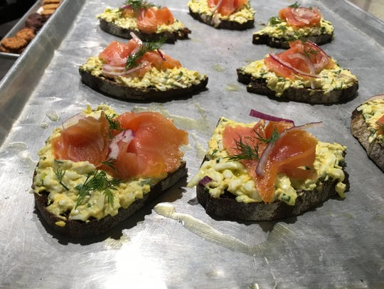 Salmon Tartine features egg salad topped with smoked