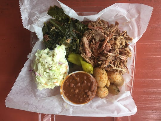 The Carolina barbecue platter at the Gator Shack comes