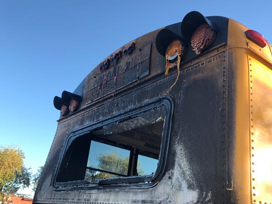 Mountain Pointe High School students had to be evacuated from a Tempe Union High School District bus that caught fire Jan. 29, 2018, in Phoenix.
