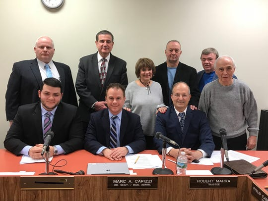 top row: Board trustee Donald Scorzetti, Superintendent