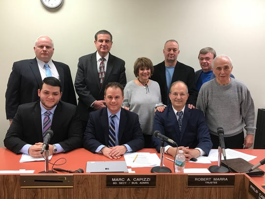 top row: Board trustee Donald Scorzetti, Superintendent Frank Quatrone, Trustees Nancy Cardone, Jeff Telep, and Michael Nardino. Bottom Row: Board President Joseph Leto, Business Administrator Marc Capizzi and Trustee Robert Marra.