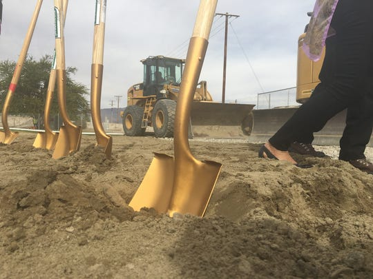 Ceremonial shovels used to break ground on the new development adjacent to the PSotlight 29 Casino.