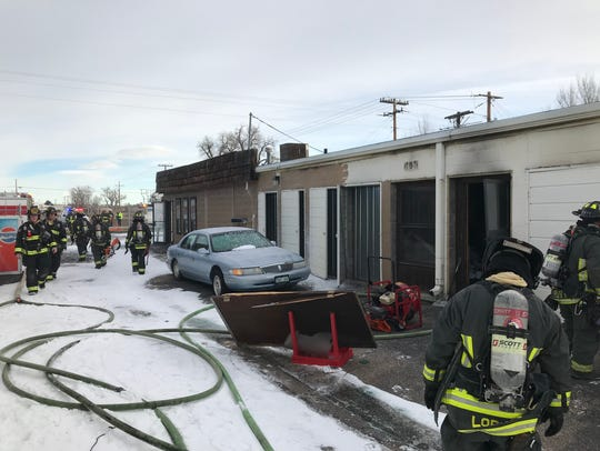 Poudre Fire Authority firefighters put out a fire in