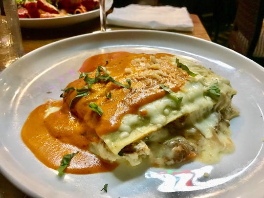 A specialty lasagna with braised lamb from The Saucy Meatball in Gateway.