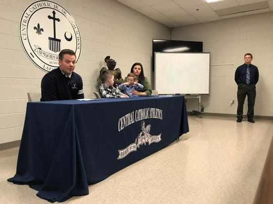 New Central Catholic football coach Brian Nay and his family are introduced at a press conference Thursday afternoon.