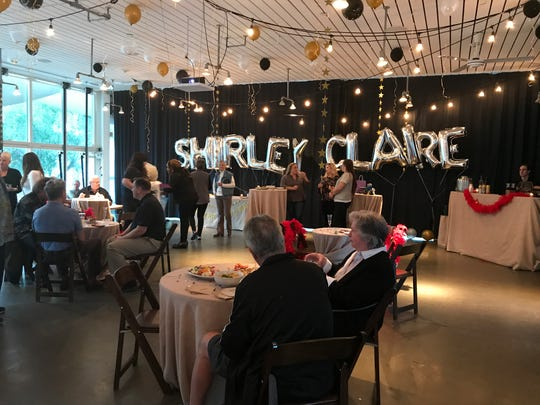 Singer Miley Cyrus sent the silver Mylar balloons in celebration of Shirley Claire's 90th birthday bash at the Ace Hotel & Swim Club in Palm Springs on Jan. 11, 2018. Claire performed in Cyrus's 'Younger Now' video and performed with Cyrus during the MTV Video Music Awards in August 2017.