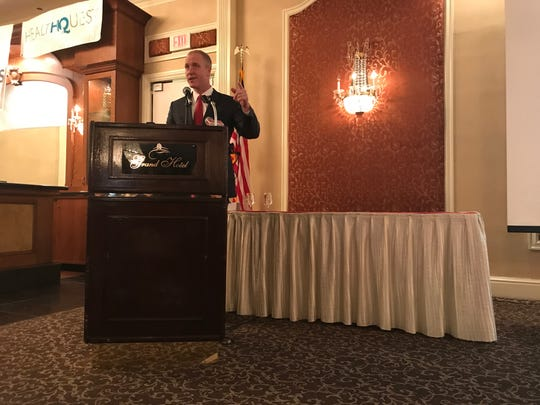 U.S. Rep. Sean Patrick Maloney, D-Cold Spring, speaks to the crowd on Thursday. He focused on the need for politicians from both major parties to come together amid the division in the country.