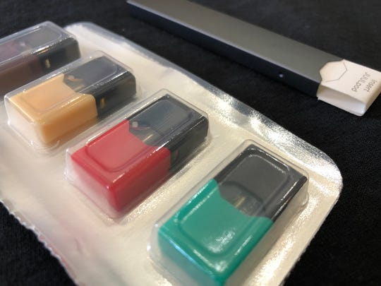 Juul pods come in a variety of flavors. One pod is said to have the nicotine equivalent of a pack of cigarettes.