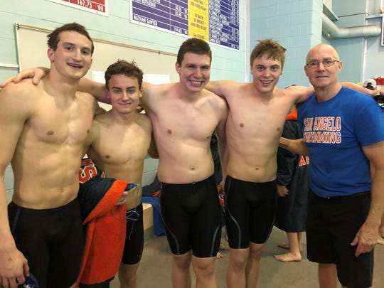 San Angelo Central High School's Riley Hill (far left) swept the boys' 50-yard freestyle and 100 backstroke at the Region I-6A meet in Lubbock on Saturday. Head coach David Hague (right) is wrapping up a 41-year career this spring.