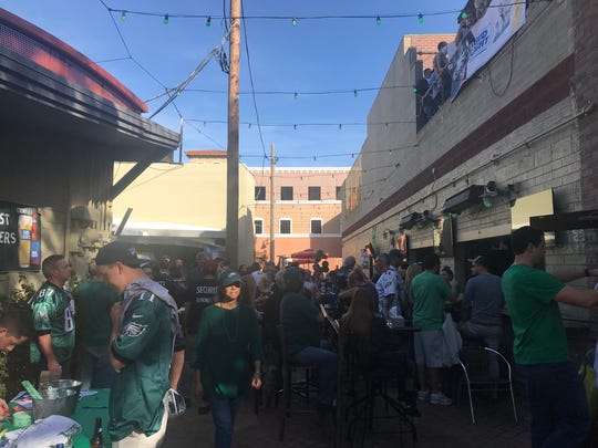 Eagles fans gather outside of Rockbar in Scottsdale