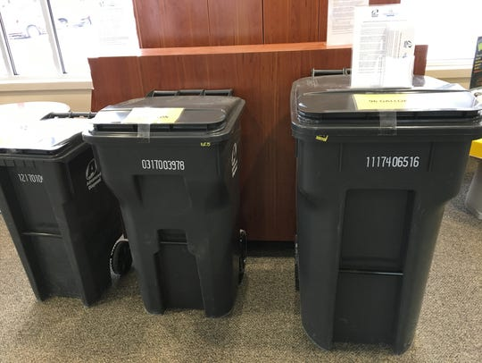Trash cans on display at the Everett Roehl Marshfield