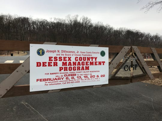 The Hilltop Reservation's gates are closed in Cedar Grove on Feb. 6, 2018, the first day of the Essex County's deer hunt on the property.