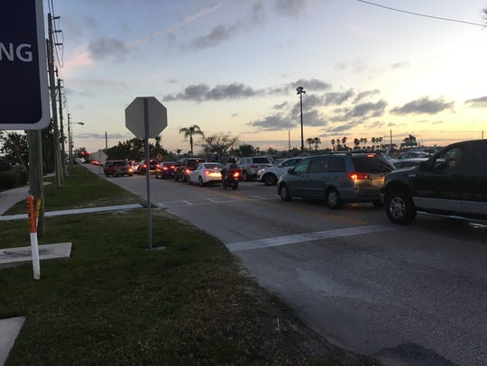 Traffic was backed up in Cape Canaveral after Tuesday's
