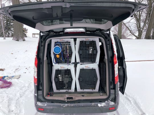 Ruby and Poe are competitive disc dogs. Their owner, Karina Shaughnessy of Paw Paw, bought the 2016 Transit Connect Wagon specifically to haul dog crates.