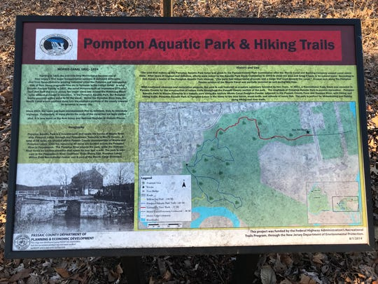 A kiosk describes the trail system at Pompton Aquatic