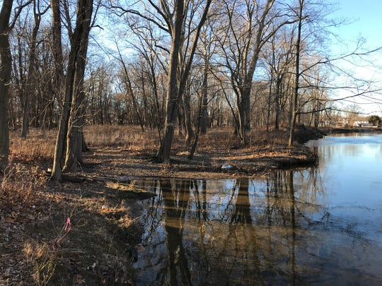 A new walking and biking trail will be constructed at this location along the Ramapo River in Pompton Lakes, N.J. The trail is an extension of the future Morris Canal Greenway project.