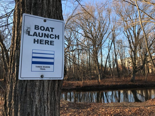 The boat launch near Joe Grill Field in Pompton Lakes that accesses the Pequannock River Coalition's Three Rivers Trail. The aquatic water trail for canoes and kayaks loops along three different rivers.