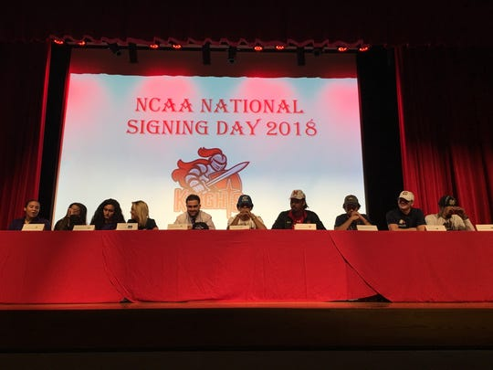 North Fort Myers High signing day participants on Feb. 7, 2018, from left: Natavia Ellis, Sajarie Jones, Amanda DaSilva, Taylor Kruse, Dominic Covietz, Jamar Eason, Fa'Najae Gotay, Cameron Howitt, Toby Noland and Joe Wilkins Jr.