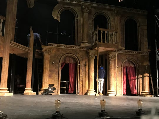 "Zach Dore's set for Rye Country Day School's ""Pippin"" --  at White Plains PAC this week -- includes a partially constructed castle, and footlights. The musical about the son of Charlemagne runs at White Plains Performing Arts Center at 7:30 p.m., Feb. 9, 10; 2 p.m., Feb. 11. Tickets are $20. Call 914-328-1600 ext. 13."