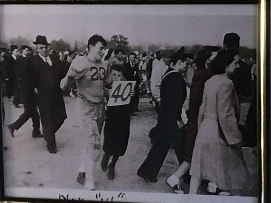 This photo of Bill Kelly after his final football game